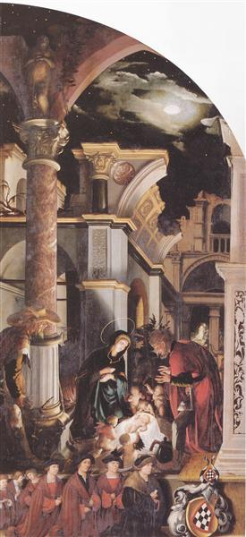 Oberried Altarpiece, right interior wing - The Birth of Christ, 1522 - Hans Holbein the Younger