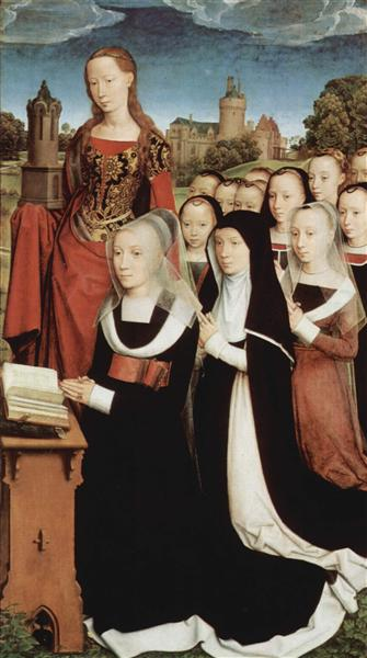 Triptych of Willem Moreel, right wing, the founder Barbara van Vlaenderbergh, wife of Willem Moreel, the daughters and the St. Barbara, 1484 - Hans Memling