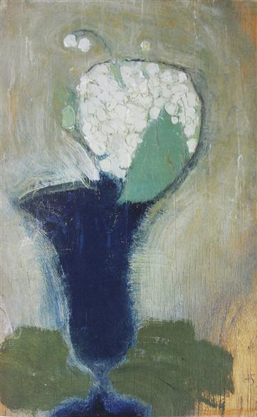 Lilies of the Valley in a Blue Vase II - Helene Schjerfbeck