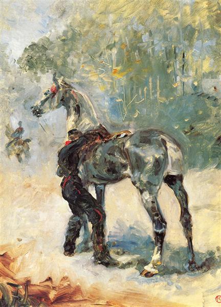 Artilleryman Saddling His Horse, 1879 - Henri de Toulouse-Lautrec