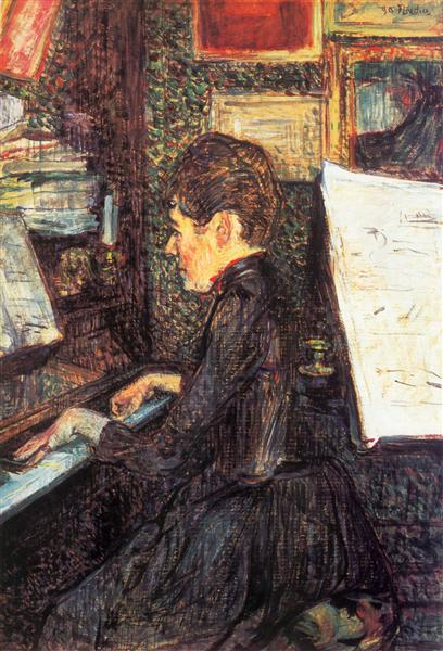 Mademoiselle Dihau at the Piano, 1890 - Henri de Toulouse-Lautrec