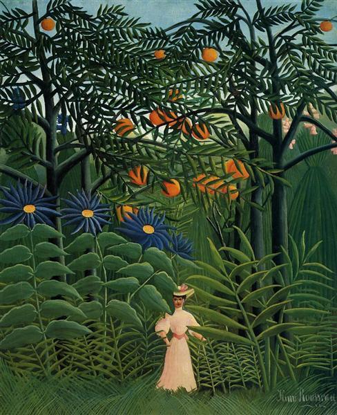 Woman Walking in an Exotic Forest - Henri Rousseau