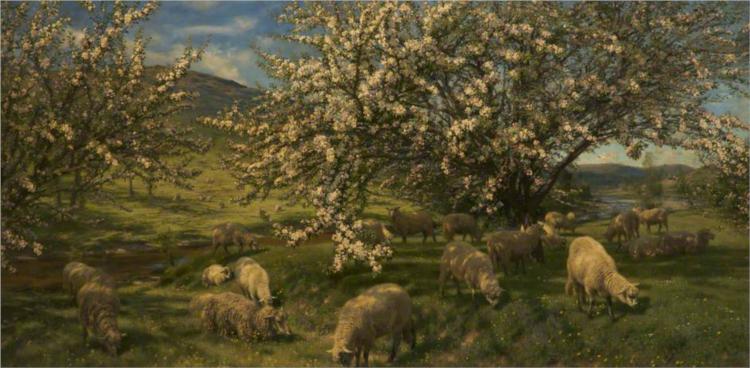 Apple Blossoms in the Upper Wye, 1903 - Henry William Banks Davis