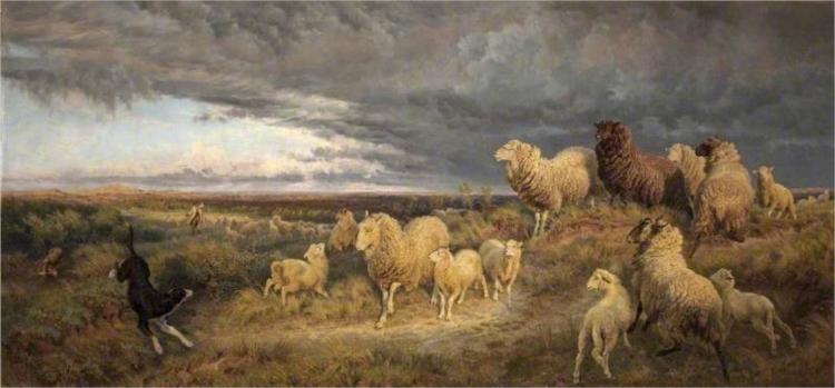 Approaching Thunderstorm, Flocks Driven Home, Picardy, France, 1889 - Henry William Banks Davis