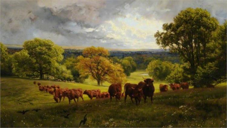 Landscape in Wiltshire, 1875 - Henry William Banks Davis