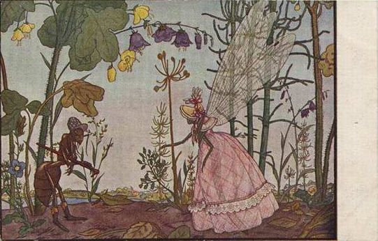 Illustration to Ivan Krylov's fable 'The Ant and the Dragonfly', 1912 - Heorhiy Narbut