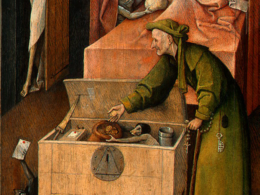 Death and the Miser (detail), c.1494 - c.1516 - Hieronymus Bosch