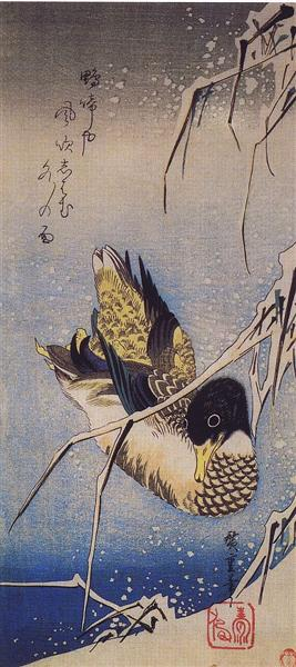 Reeds in the Snow with a Wild Duck - Hiroshige