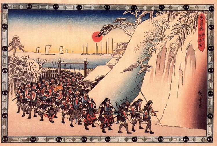 Ronin Enter Sengakuji Temple to Pay Homage to Their Lord, Enya - Hiroshige