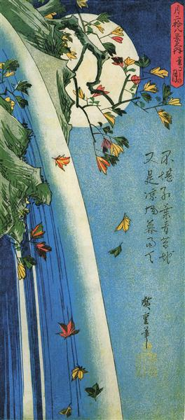 The moon over a waterfall - Hiroshige