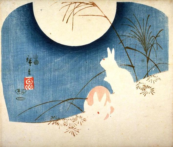 Untitled (Two Rabbits, Pampas Grass, and Full Moon), 1849 - 1851 - Утаґава Хіросіґе