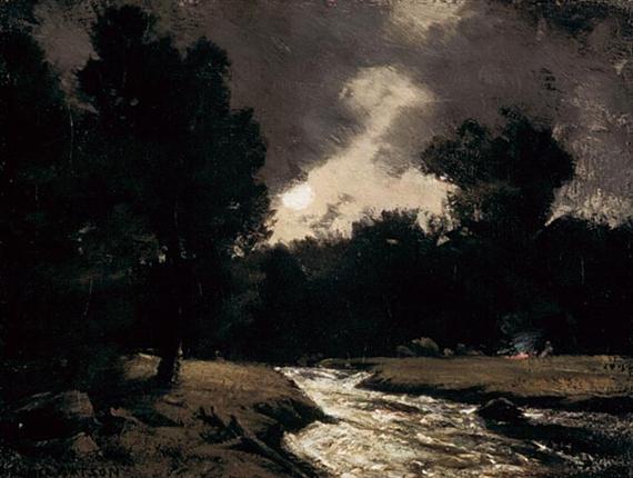 Rushing Stream by Moonlight, 1905 - Homer Watson