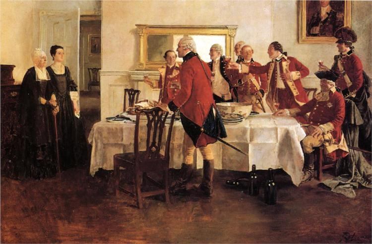 Red Coat Soldiers Toasting the Ladies of the House - Говард Пайл