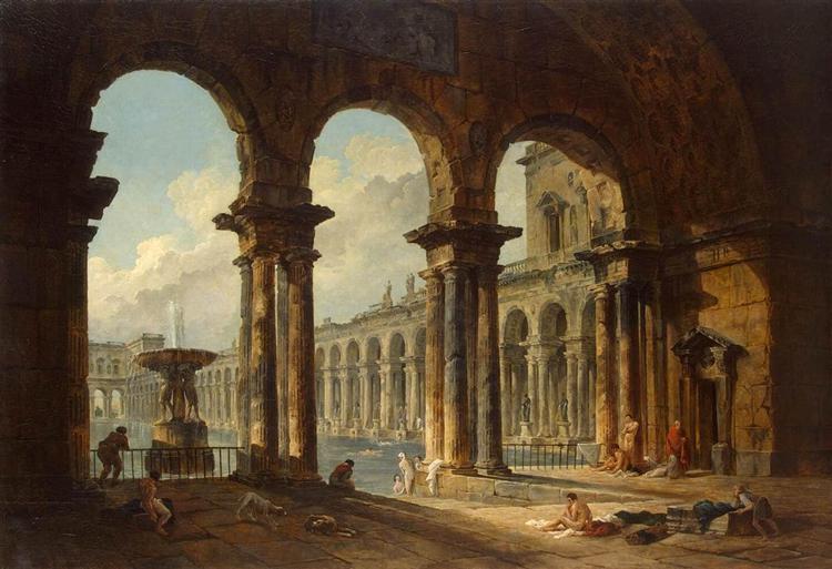Ruines antiques utilisées comme bains publics, 1798 - Hubert Robert