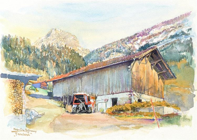 Les Plans sur Bex, a barn with tractor & Muveran mountain - Swiss landscape in watercolor painting art - Hubertine Heijermans
