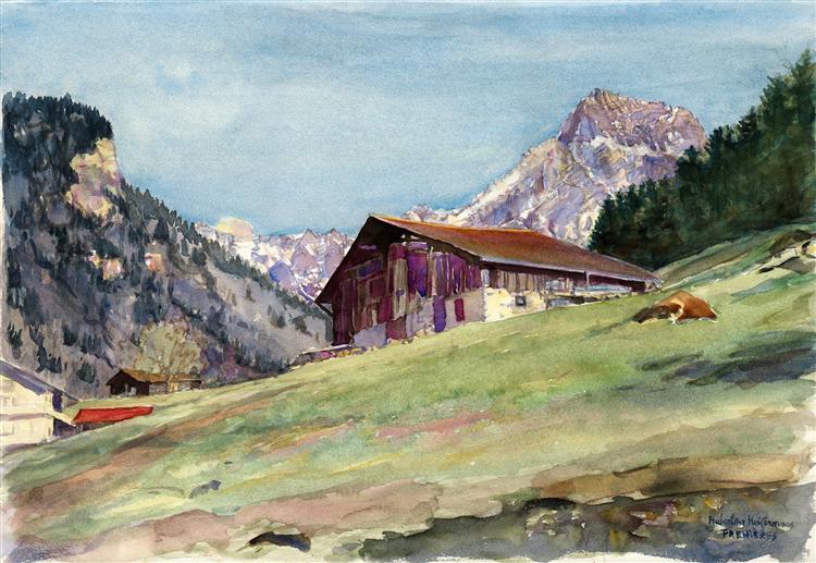 Mountain-landscape of Frenières, an Alpine site above Bex, canton Vaud, Switzerland - watercolor painting plain air - Hubertine Heijermans