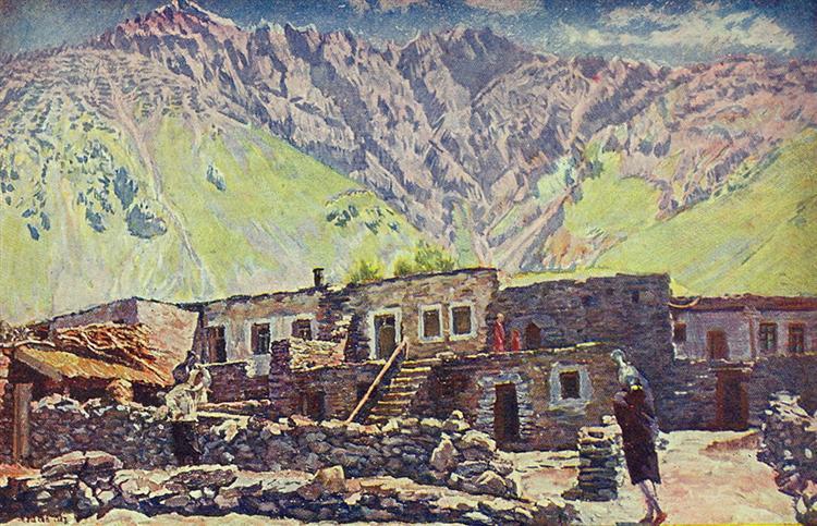 Georgia. Kazbek. Shat-mountain and village, c.1920 - Ilya Mashkov