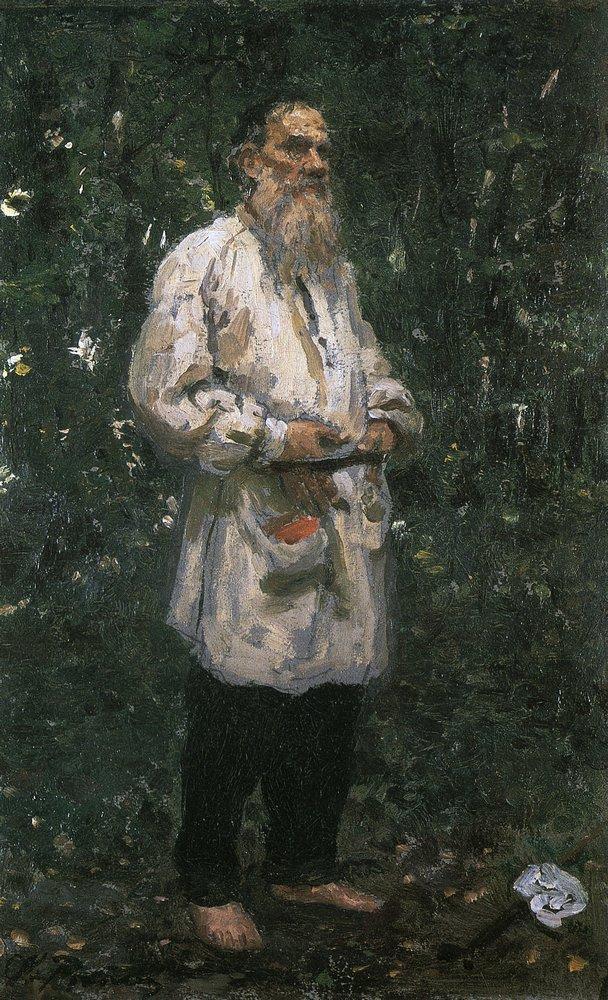 Leo Tolstoy barefoot, 1891