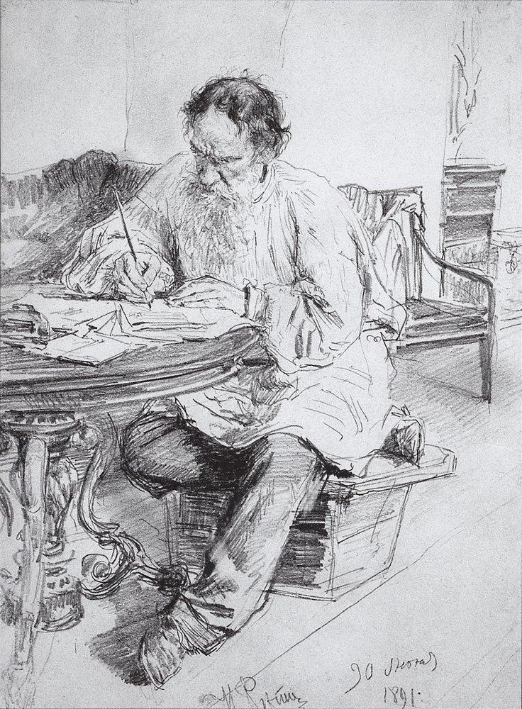 Leo Tolstoy working at the round table, 1891