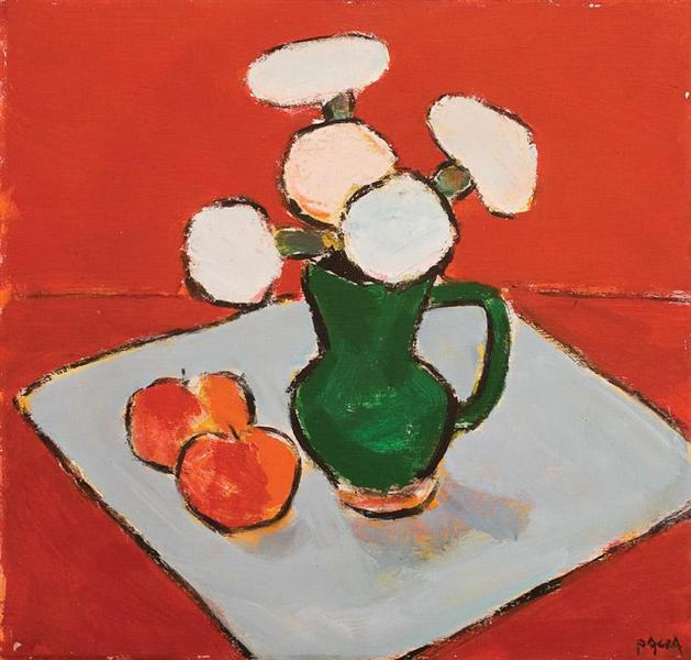 Still Life With Flowers and Apples - Ion Pacea