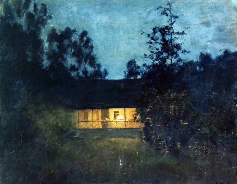 Twilight House at the summer house in twilight, c.1895 - isaac levitan - wikiart