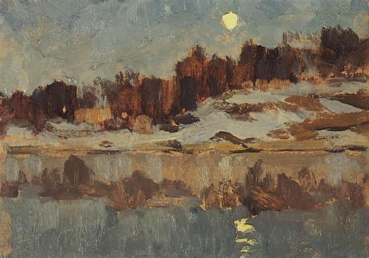 Landscape with moon, c.1895 - Isaac Levitan