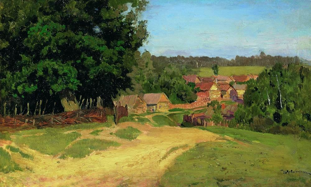 Small village, c.1885 - Isaac Levitan - WikiArt.org Village Painting