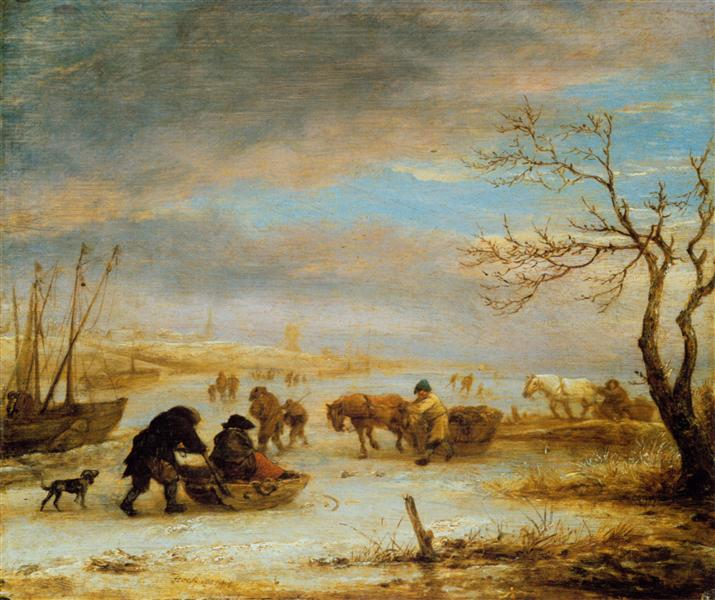 Frozen Ice Landscape with Carriages and Boats, c.1645 - Isaac van Ostade