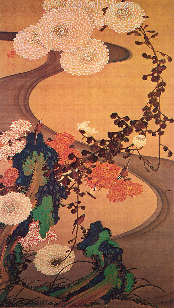 Chrysanthemums by a stream, with rocks, 1760