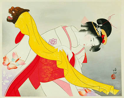 Kagamijishi Kabuki Dance - Ito Shinsui