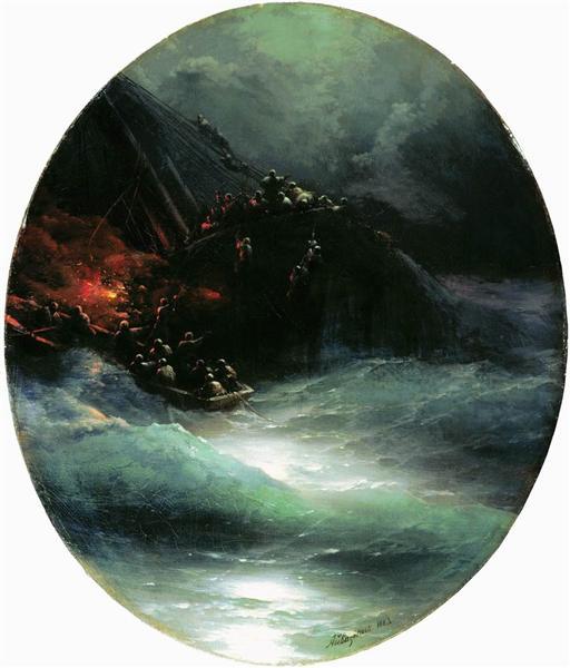 Wreck of a Merchant Ship in the Open Sea (Shipwreck), 1883 - Ivan Aivazovsky