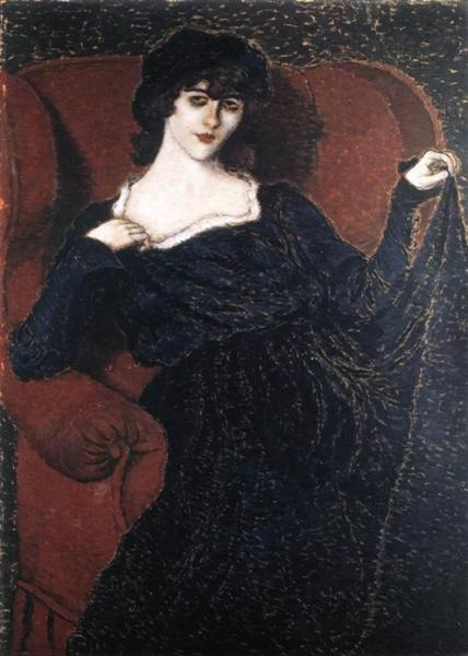 Zorka Bányai in a Black Dress, 1911 - Йожеф Рипль-Ронаи
