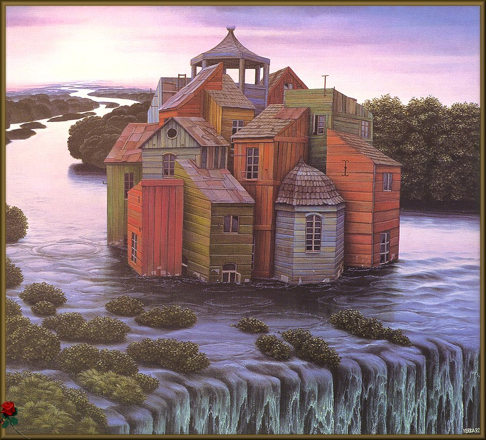 House over the waterfall jacek yerka for House built on waterfall