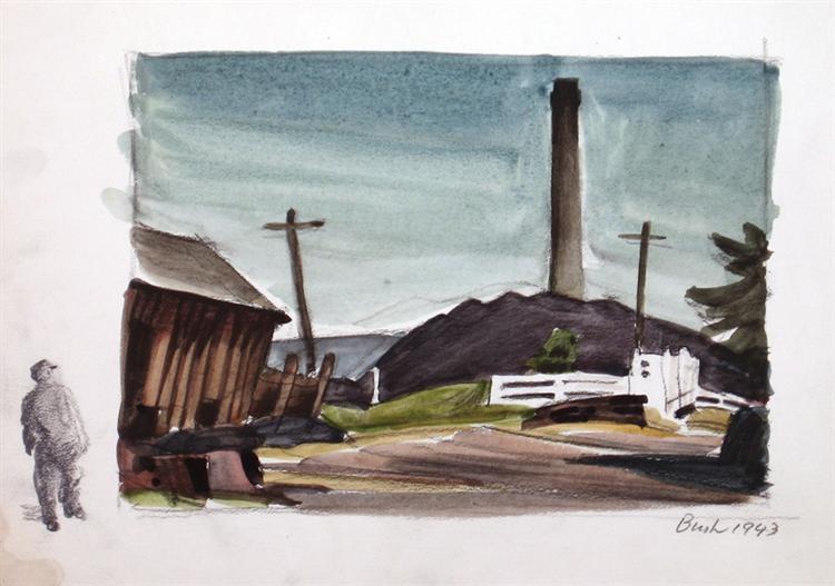 Untitled, Smoke Stack, 1943 - Jack Bush