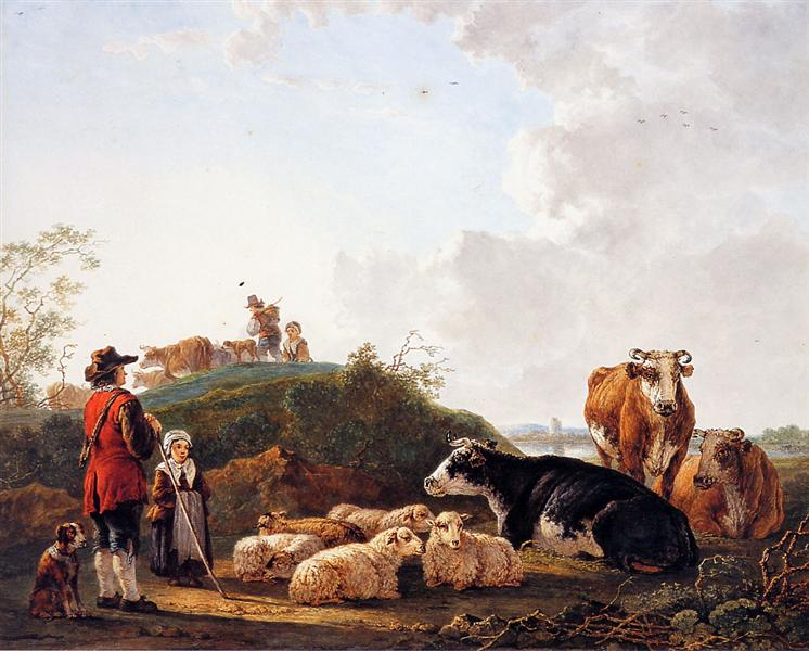 Herdsman with resting cattle - Jacob van Strij