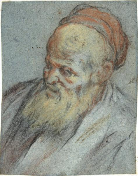 Bust-Length Study of a Bearded Man with Cap in Three-Quarter View - Jacopo Bassano