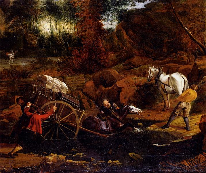 Figures With A Cart And Horses Fording A Stream - Jan Siberechts