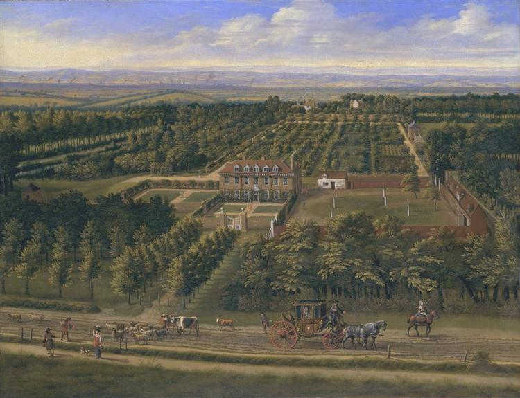 View of a House and its Estate in Belsize, Middlesex, 1696 - Jan Siberechts