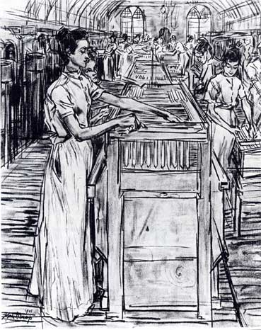 Female employees in the Candle factory in Gouda, 1905 - Jan Toorop