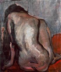 Sitting Nude from the Back - Janos Tornyai