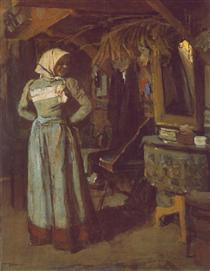 Young Woman in the Atelier - Janos Tornyai
