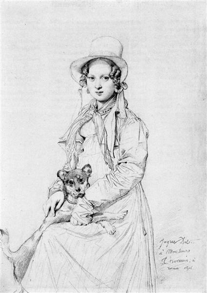 Mademoiselle Henriette Ursule Claire, maybe Thevenin, and her dog Trim - Jean Auguste Dominique Ingres