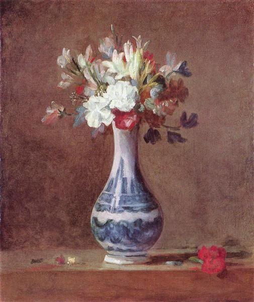 Still Life, Flowers in aVase, c.1760 - 1763 - Jean-Baptiste-Simeon Chardin