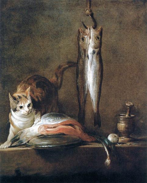 Still Life with Cat and Fish, 1728 - Jean-Baptiste-Simeon Chardin