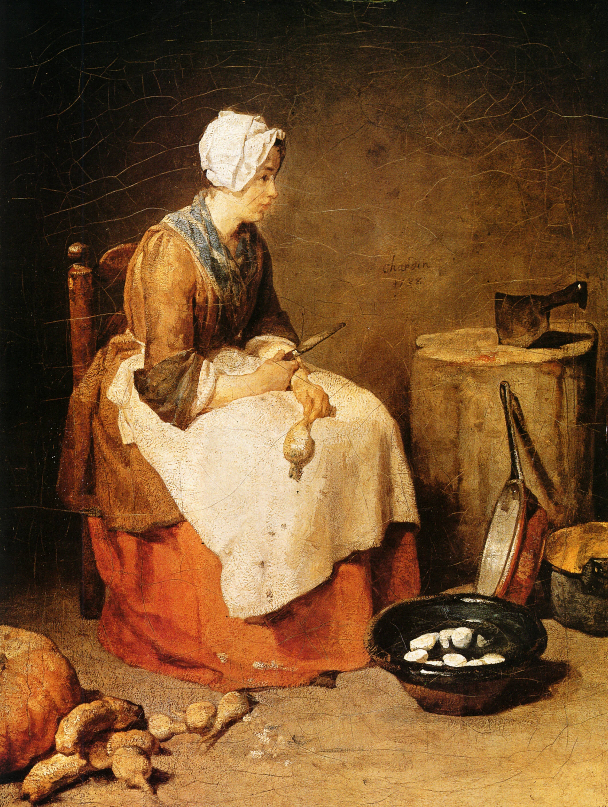 The kitchen maid 1738 jean baptiste simeon for 17th century french cuisine