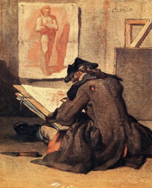 Young Draughtsman copying an Academy study, 1733 - 1735 - Jean-Baptiste-Simeon Chardin