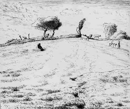 Landscape Hillside in Gruchy, c.1869 - 1870 - Jean-Francois Millet