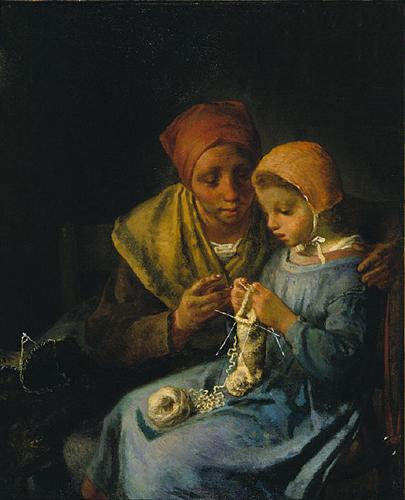 The Knitting Lesson - Jean-Francois Millet