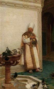 A Grand White Enuch Watching Doves - Jehan Georges Vibert
