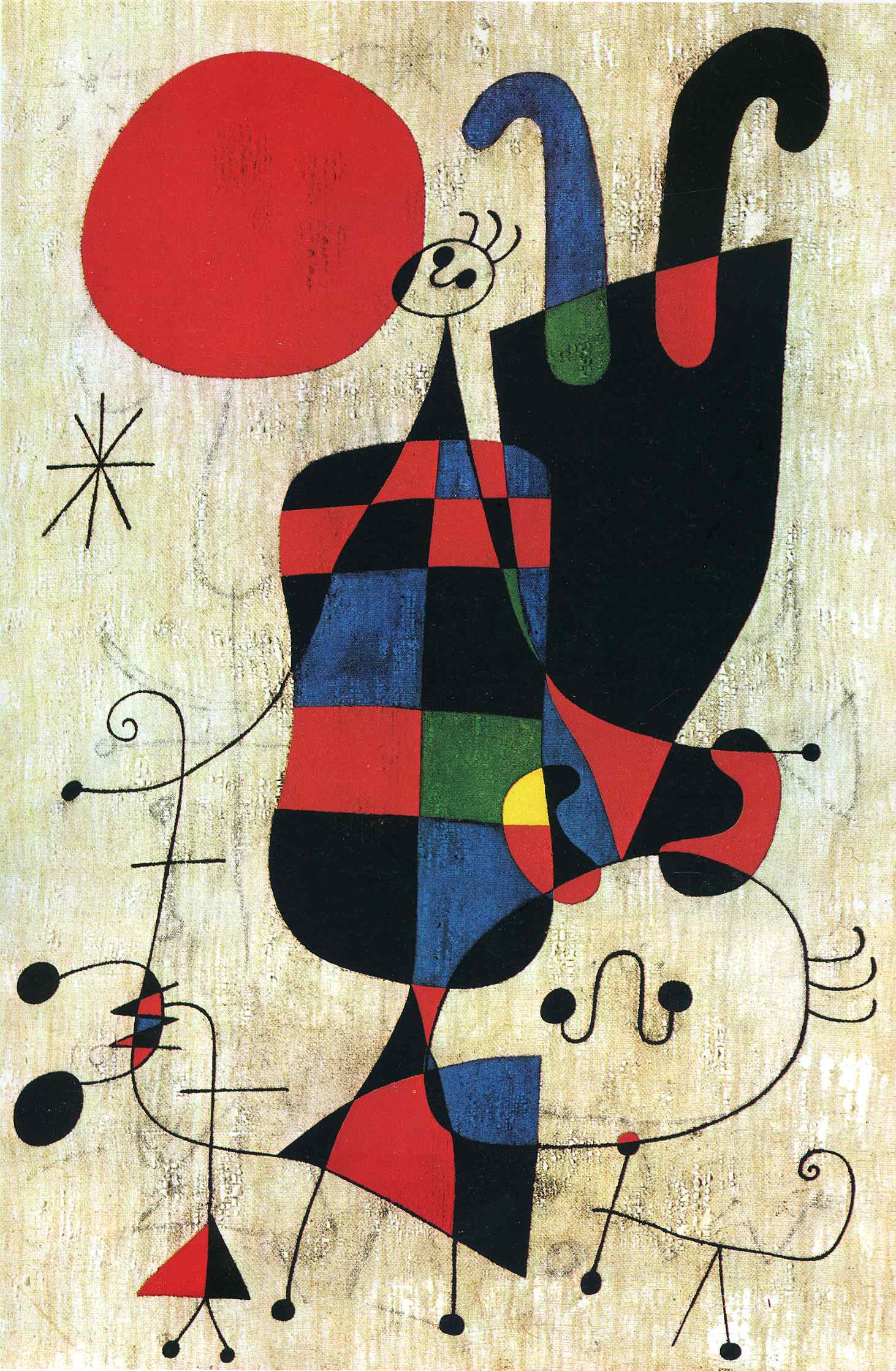 Figures and Dog in Front of the Sun, 1949 - Joan Miro - WikiArt.org